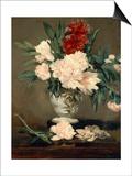 Vase de pivoines sur piédouche