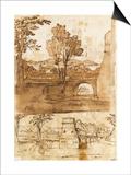 Deux études du même paysage avec un pont  sous deux angles différents