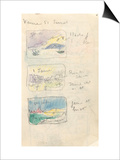 Carnet : 3  paysages dans un cadre avec annotations