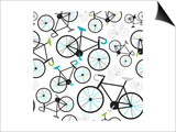 Seamless Fixed Gear Bicycle Illustration Pattern