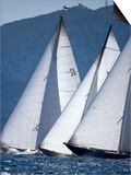 The Bows of Three Classic Yachts Racing Closely Upwind Panerai Classics  Sardinia  September 2007