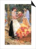 Woman Sells Flowers