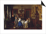 The Contest for the Bouquet: the Family of Robert Gordon in their New York Dining-Room  1866
