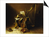 Still Life with Musical Instruments  American School