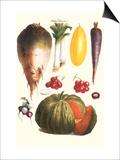 Vegetables: Melon  Purple Carrot  Cherry Tomatoes  Onions  Turnip  Leek