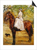 Woman in White Riding a horse
