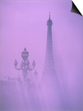 Eiffel Tower and Candelabra with Fog in Paris