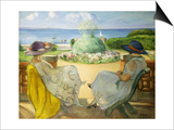 Two Young Women on a Terrace by the Sea
