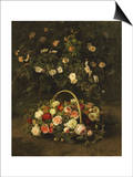 Roses in a Basket Beside a Rose Bush  1846