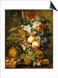 Fruit and Flowers on Marble Ledges  1812
