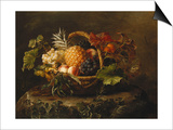 A Pineapple  Grapes  Peaches and Apricots in a Basket