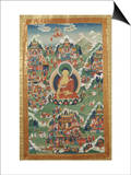 A Tibetan Thangka  Buddha Shakyamuni Surrounded by Many Scenes from His Previous Lives  18th C