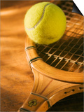 Tennis Ball and Wood Racket
