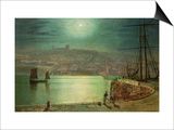 Whitby Harbour by Moonlight  1870