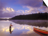 Fly-fishing at Dawn on 108 Mile Lake  British Columbia  Canada
