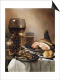 A Breakfast Still Life of a Roemer Ham and Meat on Pewter Plates  Bread and a Gold Verge Watch on…