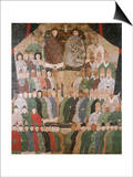 A Chinese Ancestor Scroll Depicting a Seated Dignitary and His Wife with Ro
