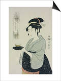 A Half Length Portrait of Naniwaya Okita  the Famous Teahouse Waitress Serving a Cup of Tea