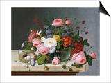 Still Life: Flowers on a Marble Topped Table