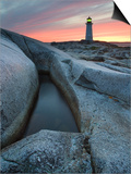Peggy's Cove Lighthouse at Dusk  Peggy's Cove  Nova Scotia  Canada