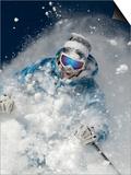 Skier in deep powder snow