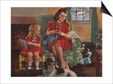 Calendar Illustration of Mother and Daughter Knitting by F Sands Bruner