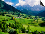Santa Maddalena church in the Dolomites Mountains