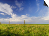 Active Prairie Sky and Farm Fenceline West of Calgary  Alberta  Canada