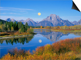 Full Moon Rising Over the Oxbow Bend