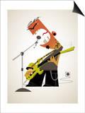 Aggressive rock musician