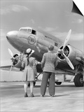 1940s Rear View of Boy and Girl Standing Together Looking at Propeller Airplane Outdoor