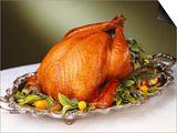 Whole Roast Turkey on Silver Platter