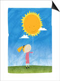 Girl holding a sun balloon