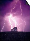 Lightning Behind a Farmhouse