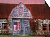 Flag Hanging on Barn Door