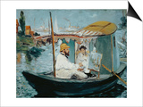 Claude Monet and His Wife in His Floating Studio