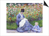 Camille Monet and a Child in the Artist's Garden in Argenteuil