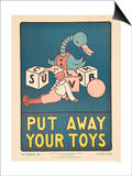 1938 Character Culture Citizenship Guide Poster  Put Away Your Toys