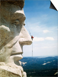 Mount Rushmore Repairman Working on Lincoln's Nose