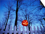 Lit Jack o'-Lantern Perched on Picket Fence