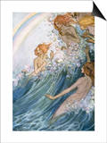 Book Illustration of Nymphs Riding a Wave by Florence Harrison