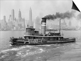 1940s Tugboat on Hudson River in NYC