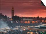 Koutoubia Mosque  Djemma El-Fna Square  Marrakech  Morocco
