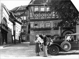 1930s Tourist Couple by Car Looking at Map in Front of Eisenach Lutherhaus