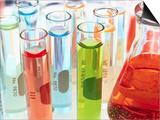 Test Tubes of Colored Liquid