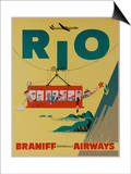 Braniff International Airways Travel Poster  Rio De Janiero Cable Car