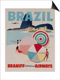 Braniff Airways Travel Poster  Brazil