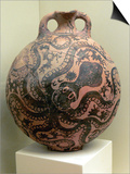Minoan Clay Flask Decorated with Octopus