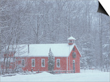 Old Red Schoolhouse and Forest in Snowfall at Christmastime  Michigan  USA
