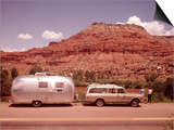 1970S Station Wagon Trailer Rv New Mexico Highway Tourist Man Woman